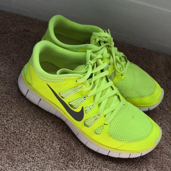 Nike free 5.0 shoes neon green
